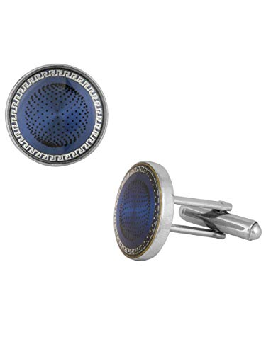 The Jewelbox Half Black & Silver Round & Blue Round Designer Dots Formal Shirt Blazer Suit Cufflinks of 2 Pair Men Gift Box by The Jewelbox (Image #4)