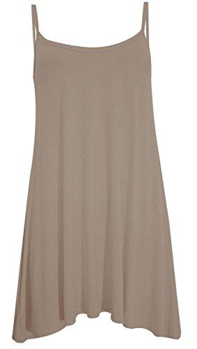 Chocolate Pickle ? Nouveau femmes Femmes plus Taille le Cami  bretelles Plaine Tops longue Robe trapze 36-54 Moka
