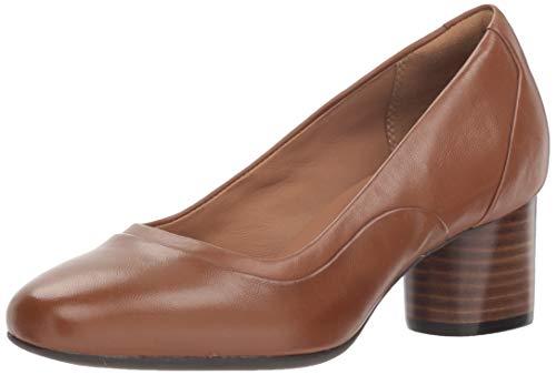 CLARKS Women's Un Cosmo Step Pump, Dark Tan Leather, 85 M US