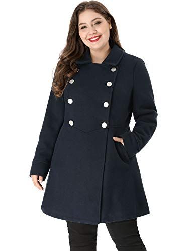 Agnes Orinda Women's Plus Size A-Line Peter Pan Collar Double Breasted Coat 2X Blue -