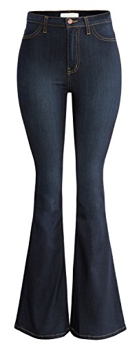 URBAN K Women's Classic High Waist FLARE & SKINNY Denim Jeans Bell Bottoms, Ubk22_dark Stone, 7 - Flare Dark Wash