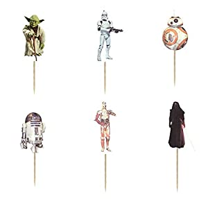 24PCS Star Wars Cupcake Toppers For Kids Birthday Party Cake Decorations