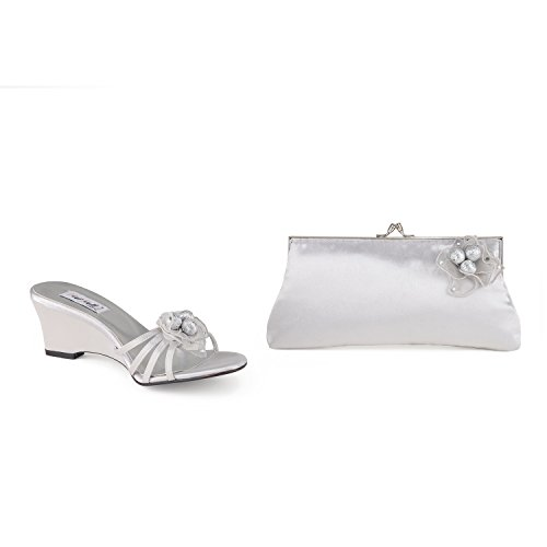 FARFALLA Satin Wedge Sandals Silver mtuiA