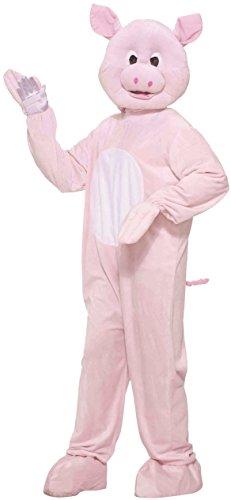 Forum Novelties Men's Pig Mascot Costume Plush Farm Animal Hog Halloween One Size Fits Most Pink