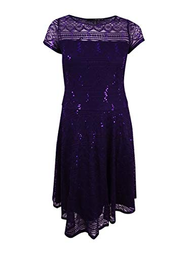 - Sangria Womens Petite Lace Sequined Sheath Dress