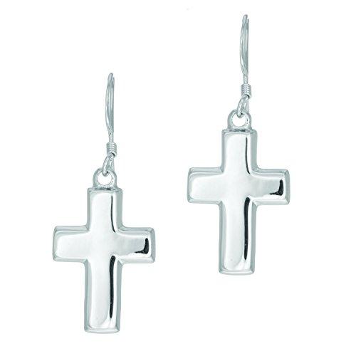 Silver Rhodium Finish 7X15mm Shiny Cross Dangle Earring