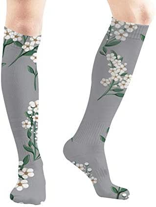 Small White Simple Flowers Food and Drink Men and Women Compression Knee Socks High Fitness Novelty Stockings 50Cm Stylish Design