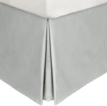 18 Inch Drop Queen Bedskirt (SRP Bedding Real 350 Thread Count Split Corner Bed Skirt / Dust Ruffle Queen Size Solid Light Grey 18