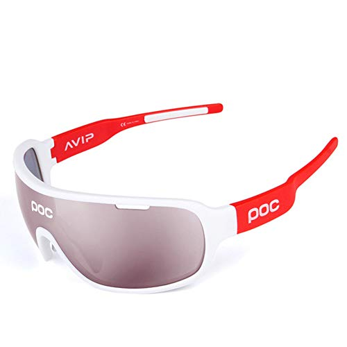 (QAQ.SPG Cycling Glasses, Polarised Sports Sunglasses - Mens & Womens Cycling Glasses +5 Interchangeable Lenses with Clear Lens - UV400 Protection - Ski Running Fishing Sailing,Whitered)
