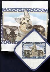 German Shepherd Dish Towel & Potholder