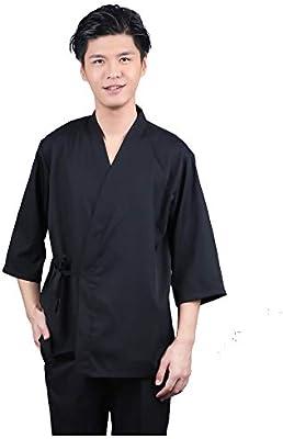 Unisexo Estilo japones Chef Uniform Kimono Sushi Camisa de Cocinero Restaurante Cocina Ropa de Trabajo de Camarero,M: Amazon.es: Deportes y aire libre