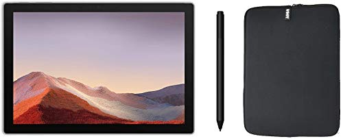 Newest Microsoft Surface Pro 7 12.3 Inch Touchscreen Tablet PC Bundle with Surface Pen and WOOV Sleeve, Intel 10th Gen Core i3, 4GB RAM, 128GB SSD, USB-C, Windows 10, Platinum (Latest Model)