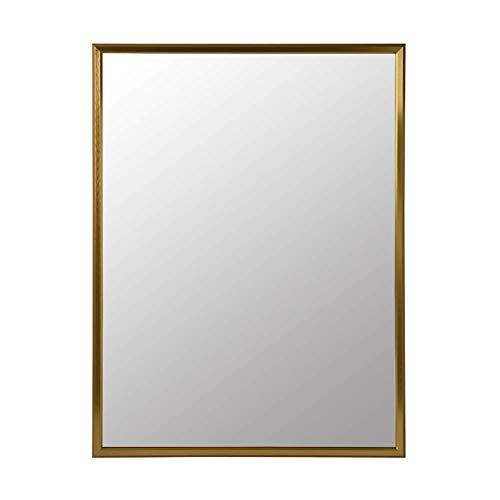 SDK Bathroom mirror Square wall mounting Aluminum alloy framed Explosion proof bathroom mirror Makeup mirror Shaving mirror Magnifying mirror Make up mirror Bedroom (color : Titanium gold)