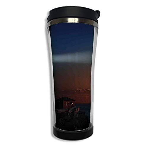 Travel Coffee Mug 3D Printed Portable Vacuum Cup,Insulated Tea Cup Water Bottle Tumblers for Drinking with Lid 14.2oz(420 ml)by,Lighthouse Decor,Portland House at Dawn Rocks Houses Fences Lamp Image N ()