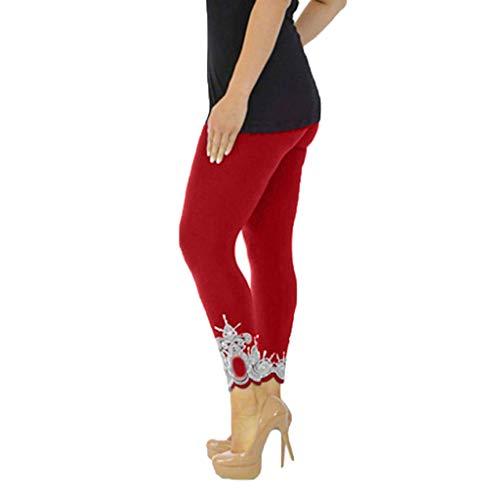 Capri Leggings Workout, High Waisted Workout Leggings,Women Sport Yoga Print Workout Mid Waist Running Pants Fitness Elastic Leggings Wine by PLENTOP (Image #1)