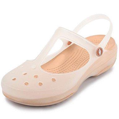 NVXZD Zapatos de la jalea de la comodidad del verano de las sandalias de las mujeres caucho ocasional Beige