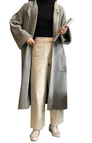 [ユケ二ー] 折り襟 セーター 長袖 アウター ゆったり カーディガン 膝丈コート 通勤 着痩せ レディース ロングセーター ニットジャケット ボレロ