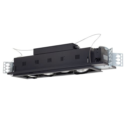 - Jesco Lighting MGP30-4SB Modulinear Directional Lighting For New Construction, Double Gimbal PAR30 4-Light Linear, Black Interior With Silver Trim