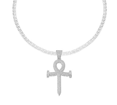 Bling Bling NY Men's Rhodium-Plated Silver Finish Micro Pave Cubic Zirconia Egyptian Ankh Cross Pendant with One Row 4mm Tennis Necklace Choker Chain (Chain 18'') ()