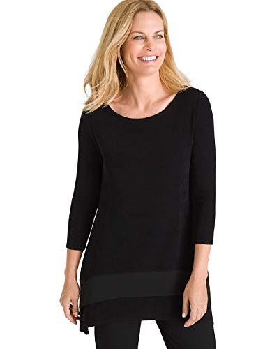 Chico's Women's Travelers Classic Mesh-Trim Top Size 0/2 XS (00) Black