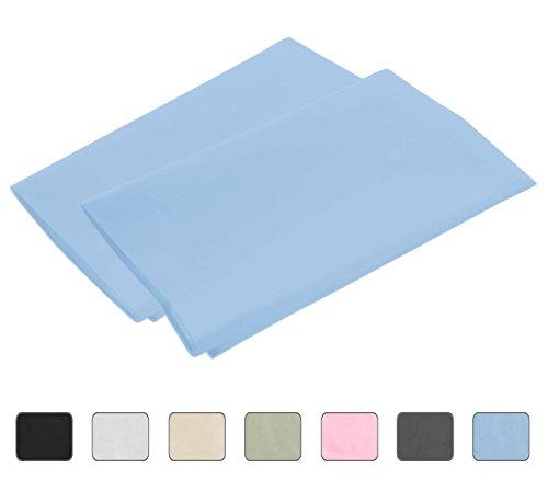 100% Egyptian Luxury Cotton 2-Piece Pillowcase Set with 4-Inch Hems - Standard, Light Blue (21x30)