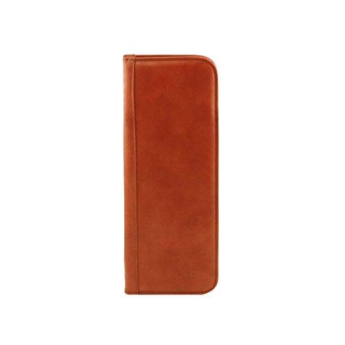Tuscany Leather - Elegante porta corbatas de viaje en piel Marrón oscuro - TL141291/5 Miel