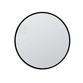 KAASUN 26-Inch Large Wall Mounted Round Mirror Premium Brushed Metal Coated Frame Black Wall Mirror for Washroom, Entryways, Living Rooms