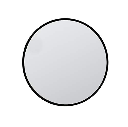 KAASUN 26-Inch Large Wall Mounted Round Mirror Premium Brushed Metal Coated Frame - Bathroom Black Guest With Mirrors