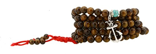 108 Tibetan Wooden Yoga Meditation Prayer Beads Mala Necklace Wrap Bracelet (Anchor)