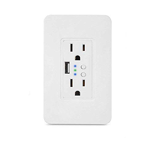 Smart WiFi High Speed USB Charger/USB Charger Wall Outlet (2.0A-5VDC) Dual Outlet Receptacle - Independently Remote Control Duplex Outlet 15A, Wireless Voice Control and Timer Switch with Scheduling by Alysontech