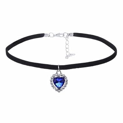 780e1f1bd7ad6 Royal Blue Heart of Ocean Pendant Black Suede Fashion Women Collar ...