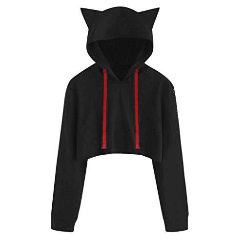 Women Long Sleeve Hoodie O Neck Drawstring Jumper Pullover Tops Fashion Blouse(Black-XX-Large) -