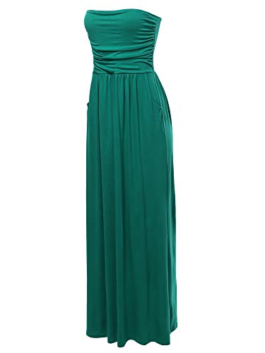 (A2Y Solid Viscose Tube Top Double Layer Side Pockets Maxi Dress Kelly Green S)