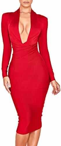 07d5f9956b45 UONBOX Women's Deep Plunge V Neck Long Sleeves Draped Knee Length Bodycon  Bandage Dress