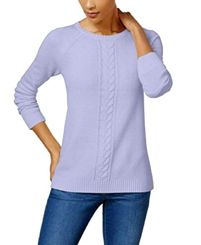 (Karen Scott Women's Cotton Mixed Cable-Knit Crew-Neck Sweater (Soft Lilac Heather, Large))