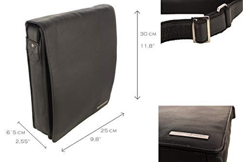 Casual Cuero Piel Black Bandolera Bolso Bolso de Medidas Cuero Bolso Zerimar cm 30x25x6 Bolso Bandolera Grande Bolso Bandolera fvRwITq0