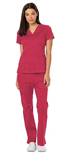 Crimson Scrubs Top - Dickies Gen Flex Women's V-Neck Scrub Top DK800 GenFlex Women's Straight Leg Drawstring Scrub Pant DK100 Scrub Set (Crimson - X-Small)