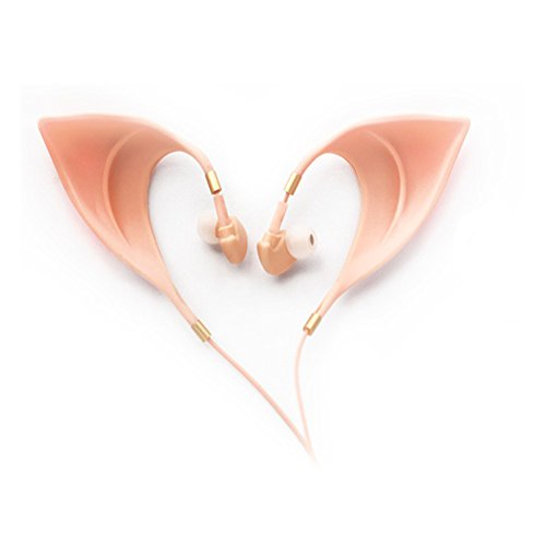 Urbun Elf Earbuds Headphones - Elegant Elves Ear Design Ultra-Soft Corded Earphone Perfect Sound Quality Fairy's Adorable Cosplay Headset Spirit Costume Accessories ()