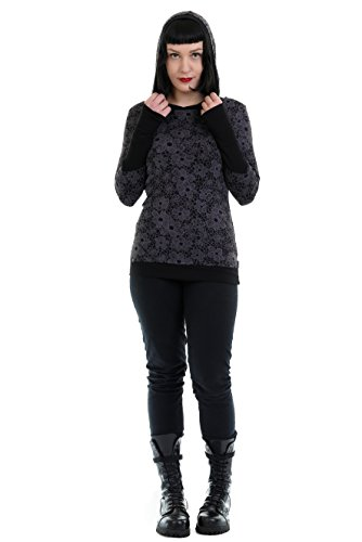 Fleur Avec Sweat À Manches Style Longues Pull Dentelle Gothic Gothique shirt By Poignets Femme Streetwear Frappé 3elfen Capuche wU0qa0