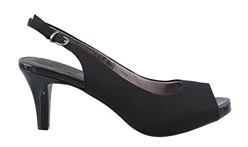 LifeStride Women's, Teller High Heel Slingback Sandals Black Micro Fiber 8.5 (Black Microfiber Heels)