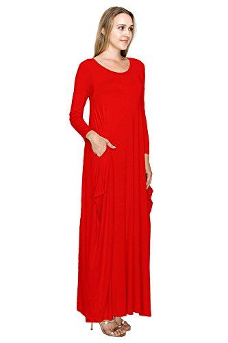 J Robe-usa Manches Boho Maxi Des Femmes De Style Doe Sarouel Longue (taille: S-5x) Rouge