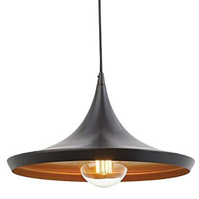 Injuicy Lighting RH Loft Edison Industrial Vintage Pendant Light Ceiling Lamp Droplight, Oil-Rubbed Bronze Finish with Gold Inside
