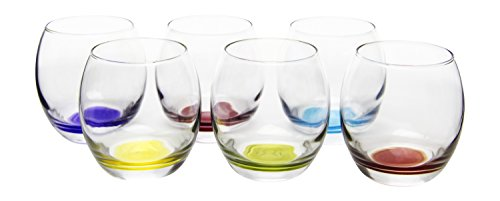 Prism Multi Colored Stemless Wine/Beverage Glasses, 13.75 Ounce - Set of 6 (Prism Iced)