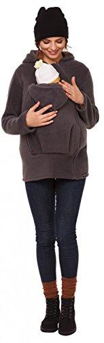 Happy Mama. Para mujer sudadera capucha top portador de bebé forro polar. 031p Grafito