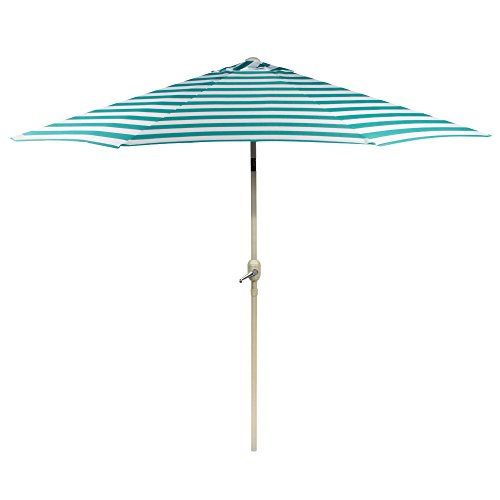 Nantucket 9' Turquoise Striped Cabana Crank/Tilt Market Umbrella ()