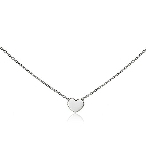 Sterling Silver Polished Heart Tiny Choker Necklace