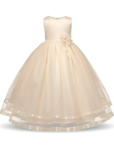 champagne and ivory flower girl dresses - 6