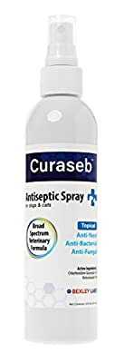 Curaseb Anti Itch Spray - Antiseptic & Antifungal for Dogs, Cats w/ Chlorhexidine - Effective Against Ringworm, Yeast, Pyoderma, Hot Spots & Allergies - Wound Care for Dogs - Satisfaction Guarantee