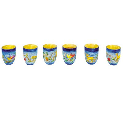 Bundle Arbel Judaica AR-SET-6B Kiddush Cup /& Fountain Set Yair Emanuel 6 SMALL WOODEN KIDDUSH CUPS ORIENTAL