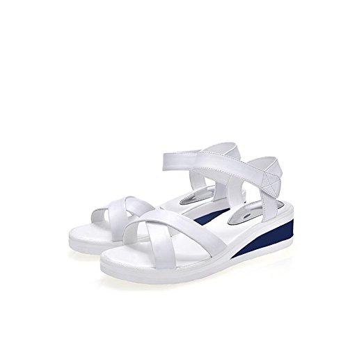 BalaMasa Womens Sandals Peep-Toe No-Closure Smooth Leather Soft-Ground Sandals ASL04661 White 3v7cbQPm